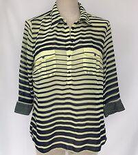 XXI Essentials Womens Sheer Top Shirt Yellow Blue Stripe Size Large Long Sleeve