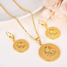 Ethiopian Jewelry Set Pendant Necklace Earring Fashion 24k Yellow Fine Gold GF