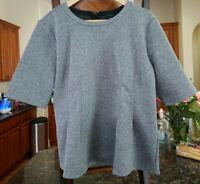 Ann Taylor: XL, Peplum Blouse Half Sleeve Polyester Gray/Off White, Gently Used