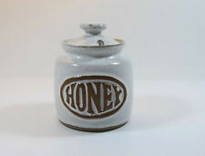 Vintage Tremar Pottery Honey Pot with Lid White Stoneware Glossy White Finish