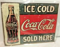 """Coca-Cola Ice Cold Sold Here Tin Sign wall decor 12.5"""" x 16"""" Made in the USA"""