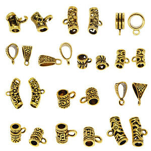 20PCS Antique Gold Assorted Bail Tube Bead Loose Bail Bead Charm DIY Findings