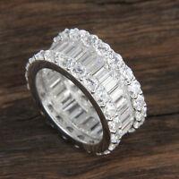6 ct Baguette Diamond 14k Real White Gold Full Eternity Wedding Band Ring