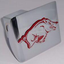 Arkansas Razorbacks Chrome w/ Red - Running Hog Metal Hitch Cover NCAA Football