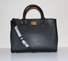 NWT MICHAEL Michael Kors Kellen Saffiano Leather Medium Satchel Handbag BLACK