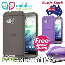TPU Gel Jelly Case Cover for New HTC One Mini 2 (M8) Grey Purple + SP