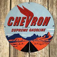 VINTAGE CHEVRON SUPREME GASOLINE PORCELAIN SIGN GAS STATION PUMP PLATE MOTOR OIL