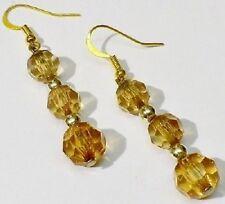 boucles d'oreilles percées bijou vintage couleur or tombante perle ambré *3971