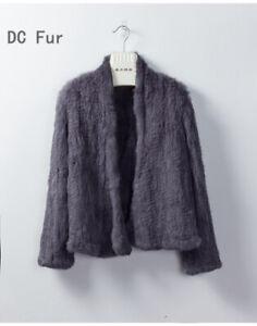 Lady Real Knit Rabbit Fur Jacket Coats V Collar Autumn Winter Genuine Women Fur
