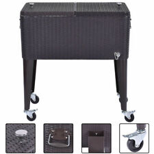 New listing New Rattan 80Qt Party Portable Rolling Cooler Cart Ice Beer Beverage Chest