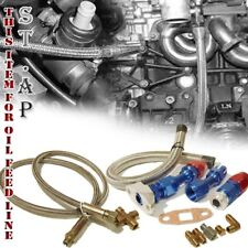 T3 T4 T04E/T66 Turbocharger Oil Drain Return Line+Feed Line Complete Kit Silver