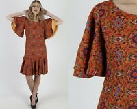 Vtg 70s Psychedelic Mod Dress Paisley Flutter Angel Sleeves Party Wiggle Mini