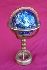 Armillary Sphere Miniature Brass Blown Glass Ball Paperweight Desk Hand Crafted