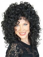 Cher Wig 80s Music Star Black Curly Perm Womens Ladies Fancy Dress Costume 80's