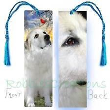 "GREAT PYRENEES BOOKMARK w/Tassel Large White Dog ART 6"" Book Mark Card Figurine"