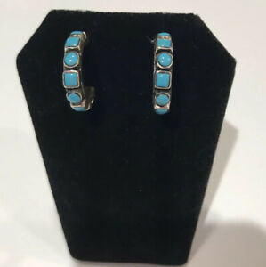 So Bo South Of The Border Earrings Sterling Silver Turquoise Hoop Pierced New