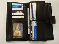 Leather Purse Wallet Organiser Extra Large Many Features Top Brand Black RFID