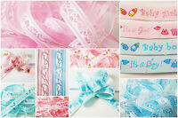 New Baby Boy/Girl Ribbon & Pull Bows - Mix & Match 3 for 2 - 6 Ribbons & 4 Bows