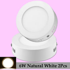 2Pcs 6W Recessed Flat Led Ceiling Panel Light Natural White Lamp Fixtures+Drive
