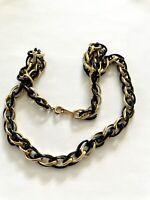 "Vintage 1986 Avon Black & Golden Link 16"" Choker Chain necklace  z209"