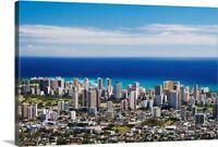 Hawaii, Oahu, Honolulu, Waikiki Seen Canvas Wall Art Print, Skyline Home Decor