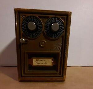 Vintage Corbin Double Dial Post Office Door Mail Box Bank