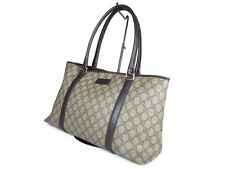 GUCCI GG Web PVC Canvas Leather Browns Tote Bag GT2091