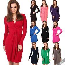 Polyester Long Sleeve V Neck Plus Size Dresses for Women