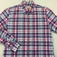 Marine Layer Mens Button Front Shirt Multicolor Plaid Long Sleeve 100% Cotton M