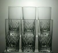 "SCHOTT ZWIESEL CRYSTAL ""TIFFANY"" CUT HIGHBALL TUMBLERS GLASSES SET OF 6 - 5 2/3"""