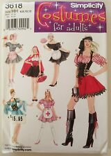 Simplicity 3618 Costume Pirate Nurse Red Riding Hood Maid UC FF Sewing Pattern