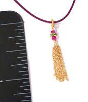 emerald ruby charm fine gold chain pendant drop tassel natural gems 18k gold