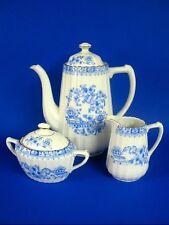 315) 3tlg. alter KAFFEEKERN SELTMANN Porzellan CHINABLAU US - ZONE Kaffeekanne