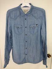 New Diesel Pearl Snap Button Down Western Cowboy Shirt 2 Pocket Linen Men's XL