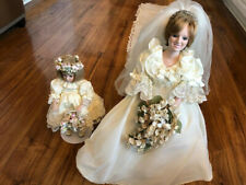 Princess Diana Bride Porcelain Doll & Flower Girl Doll ~ Danbury Mint