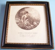 "Lt C18th GEORGIAN SEPIA PRINT ""GIRL OF CARNARVON SHIRE"" CHILD HOGARTH FRAME 1788"