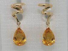 Citrin Ohrhänger 585 Gelbgold 14Kt Gold natürliche facettierte Citrine