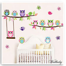 Animal Wall Stickers Owl Monkey Jungle Zoo Tree Nursery Baby Bedroom Decals Art