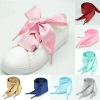 Flat Silk Shoe Laces Satin Silk Ribbon Sneaker Shoe Strings 4cm Wide Shoelaces