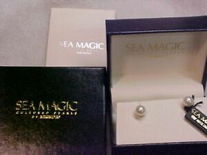 Brand New Mikimoto Sea Magic 14k  7.0mm pearl stud earrings case & box  💝
