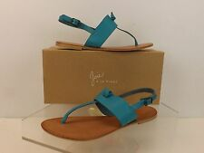 NIB JOIE BASTIA BLUE LAGOON LEATHER THONG FLAT SANDALS 40 $135 ITALY