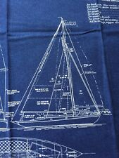 RPFMO12A Moda Yacht Sailboat Sail Boat Blueprint Drawing Cotton Quiilt Fabric