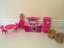 New ListingBarbie lot Doll House Glam Furniture kitchen table chairs refrigerator