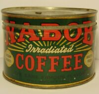 Old Vintage 1950s NABOB COFFEE TIN ONE POUND GRAPHIC COFFEE TIN VANCOUVER CANADA