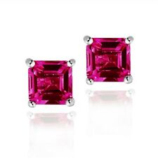 925 Silver 1.6ct Created Ruby Square Stud Earrings, 5mm