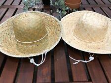 2pcs Aussie Garden Straw Hat Summer Sun Protection Fishing Wide Brim Natural