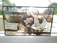 VINTAGE VITRAIL en Verre Fait MAIN buntglas STAINED GLASS ART ENFANTS CHILDREN