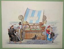 """LINDSTRÖM Carl J. """"Etalage de poissons et d'huîtres"""". 1830. AQUARELLE Italie"""