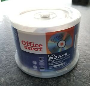 OFFICE DEPOT 50 PK. 8XDVD+R (New and Sealed)