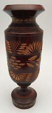 European Hand Turned Wooden Carved Decorative Vase